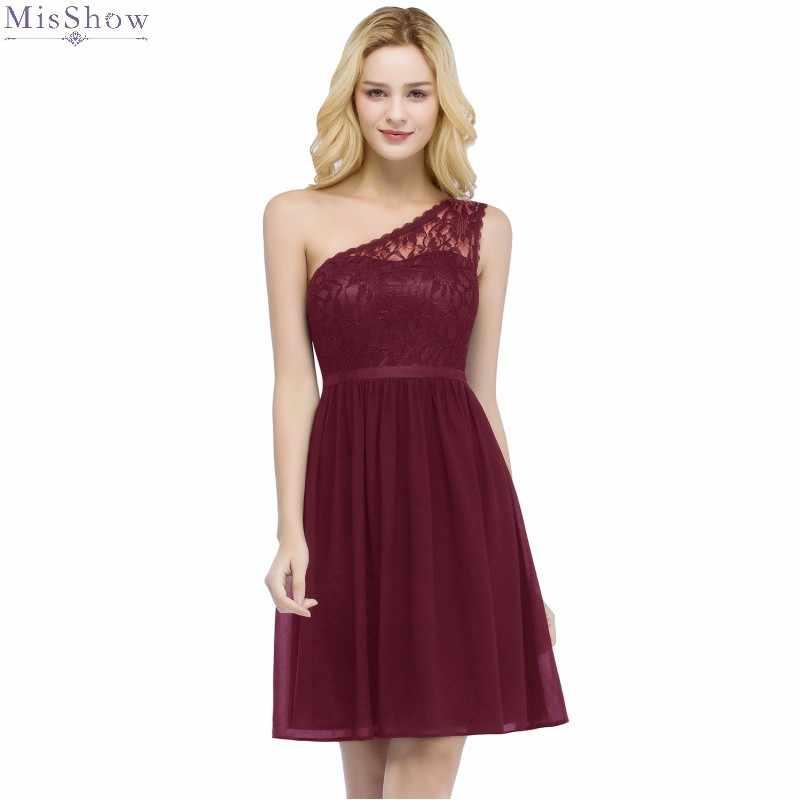 Borgogna Breve Vestito Da Sera 2019 Elegante Una linea Vestito Convenzionale Una Spalla Abito Da Sera Borgogna Senza Maniche robe de soiree
