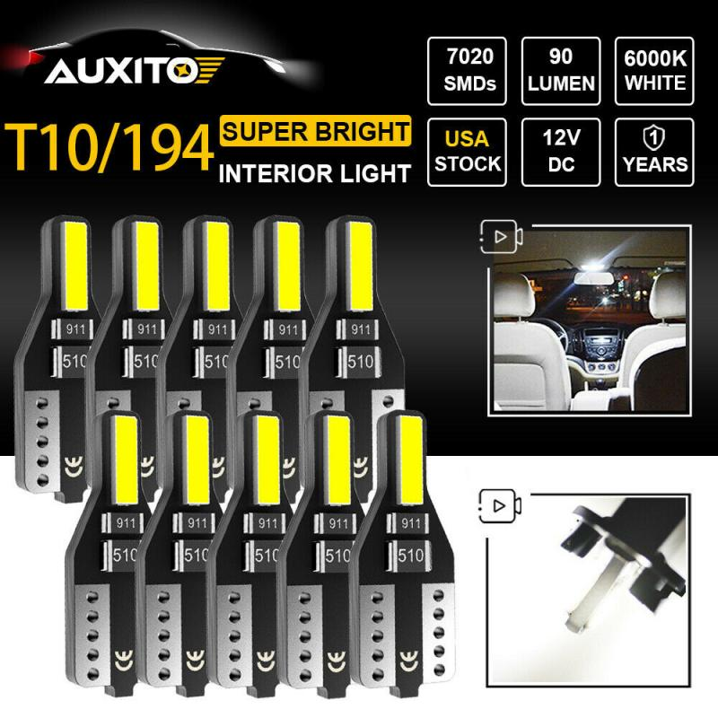 New 1/10Pcs T10 194 168 LED Car Light License Plate Interior Wedge Light Bulbs White Auto Lamp Car Accessories  LED Car Bulbs