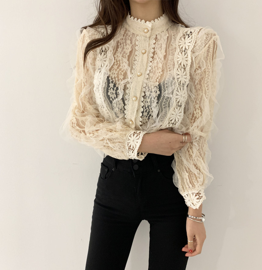 H492abdcabef74291a40793a9a6c00558E - Spring / Autumn Stand Collar Long Sleeves Crochet Flower Lace Blouse