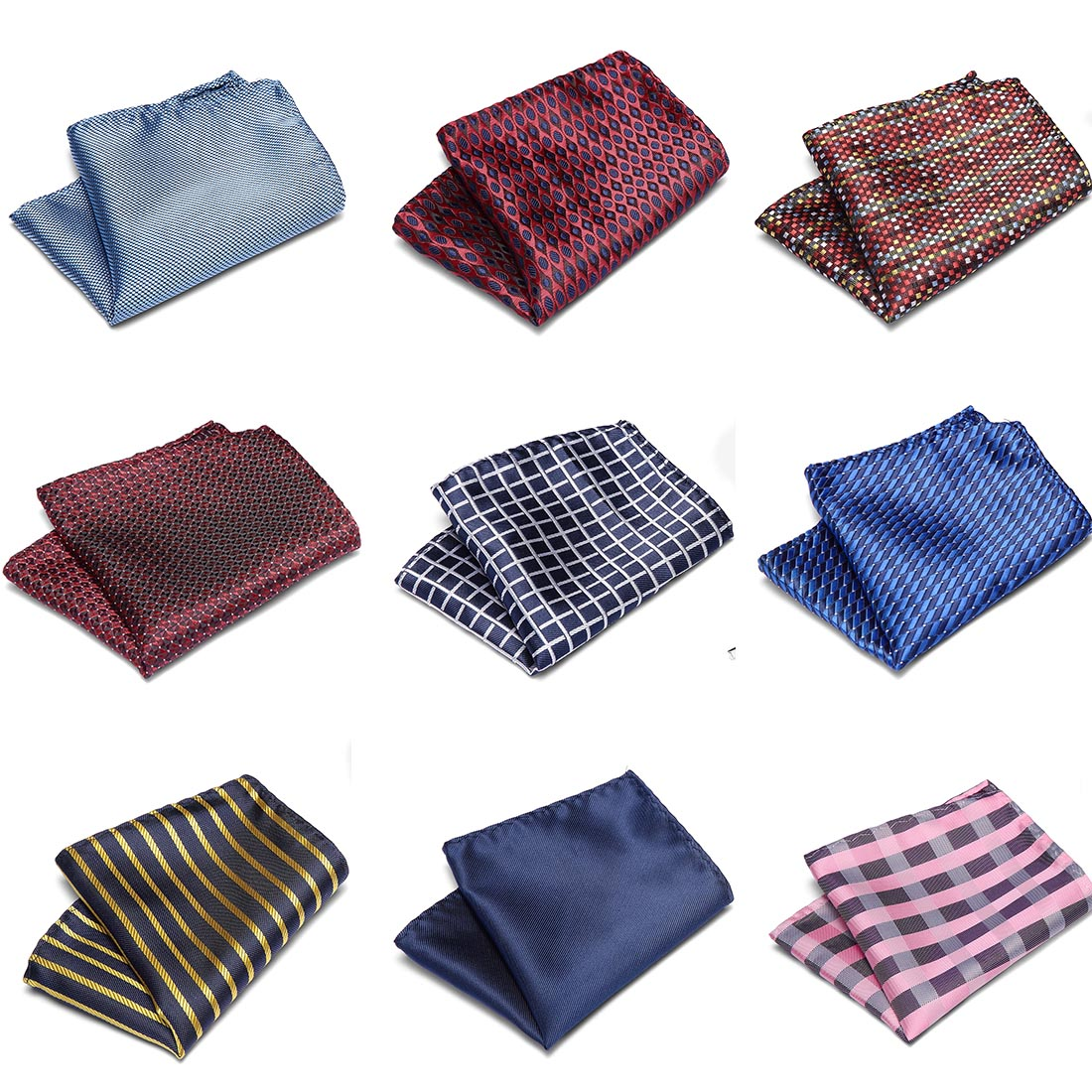 Men Wedding Pocket Square 100%Silk Match For Suit Tie Men's Handkerchief Accessories Jacquard Solid Dots Stripes Pattern 22*22cm