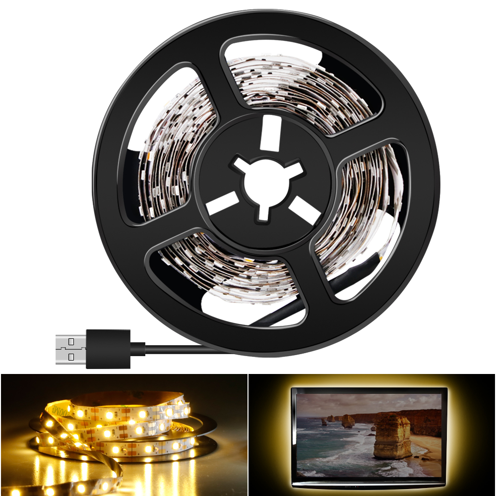 Indoor Led Strip 5V USB Lamp 2835 1M 2M 3M 4M 5M EU/US Plug 220V Tiras Led Light Strip White/Warm TV Backlight Bedroom Lighting