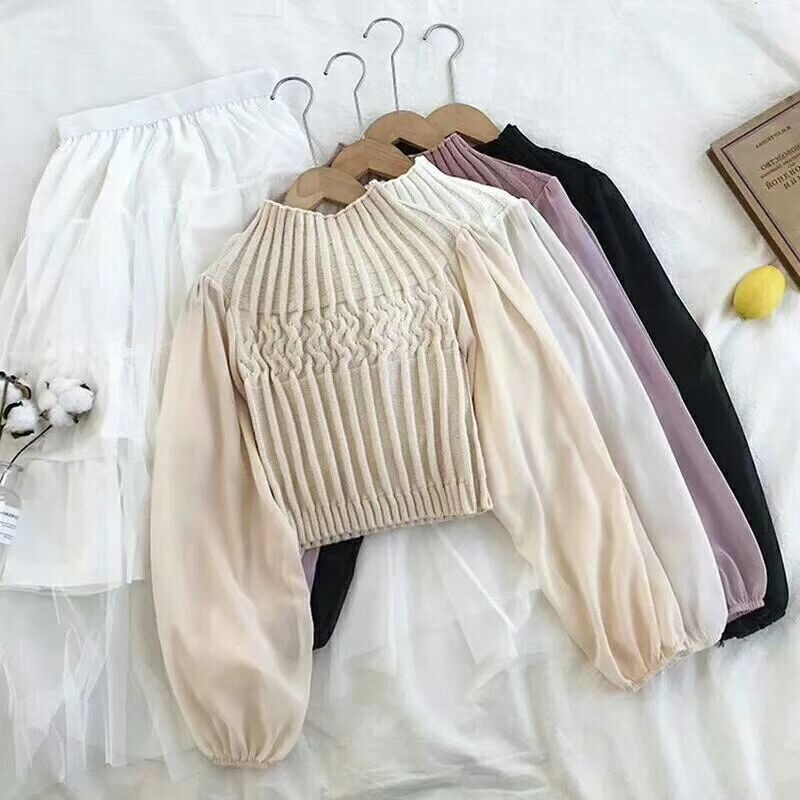 Women Sweater 2020 Korean Long Lantern Sleeve Chiffon Patchwork Sweet Solid Short Style Girl Early Spring Knitted Pullovers