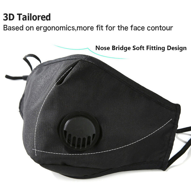 Adult 3D Face Mask pm2.5 Reusable Washable Anti flu Dust Bacteria Virus Breathable Valved Respirator Activated Carbon Filter 5