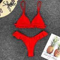 Simplee Ruffles red push up two-piece swimwear 2019 Mujer triangle sexy swimsuit Female bathing suit summer swimwear