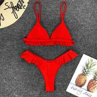Simplee Ruffles red push up two-piece swimwear 2019 Mujer triangle sexy swimsuit Female bathing suit summer swimwear