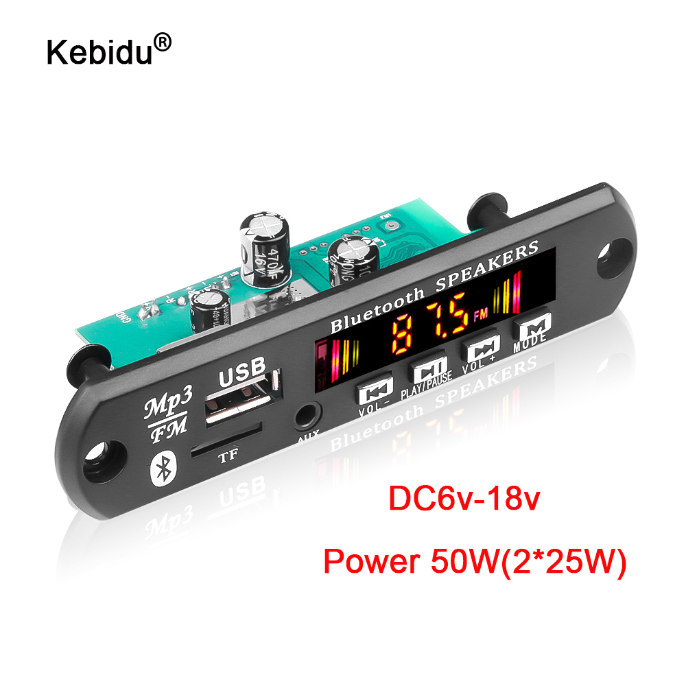 6W 50W amplificateur mains libres lecteur MP3 décodeur carte 5V 12V 18V Bluetooth 5.0 voiture FM Radio Module Support FM TF USB AUX enregistreurs
