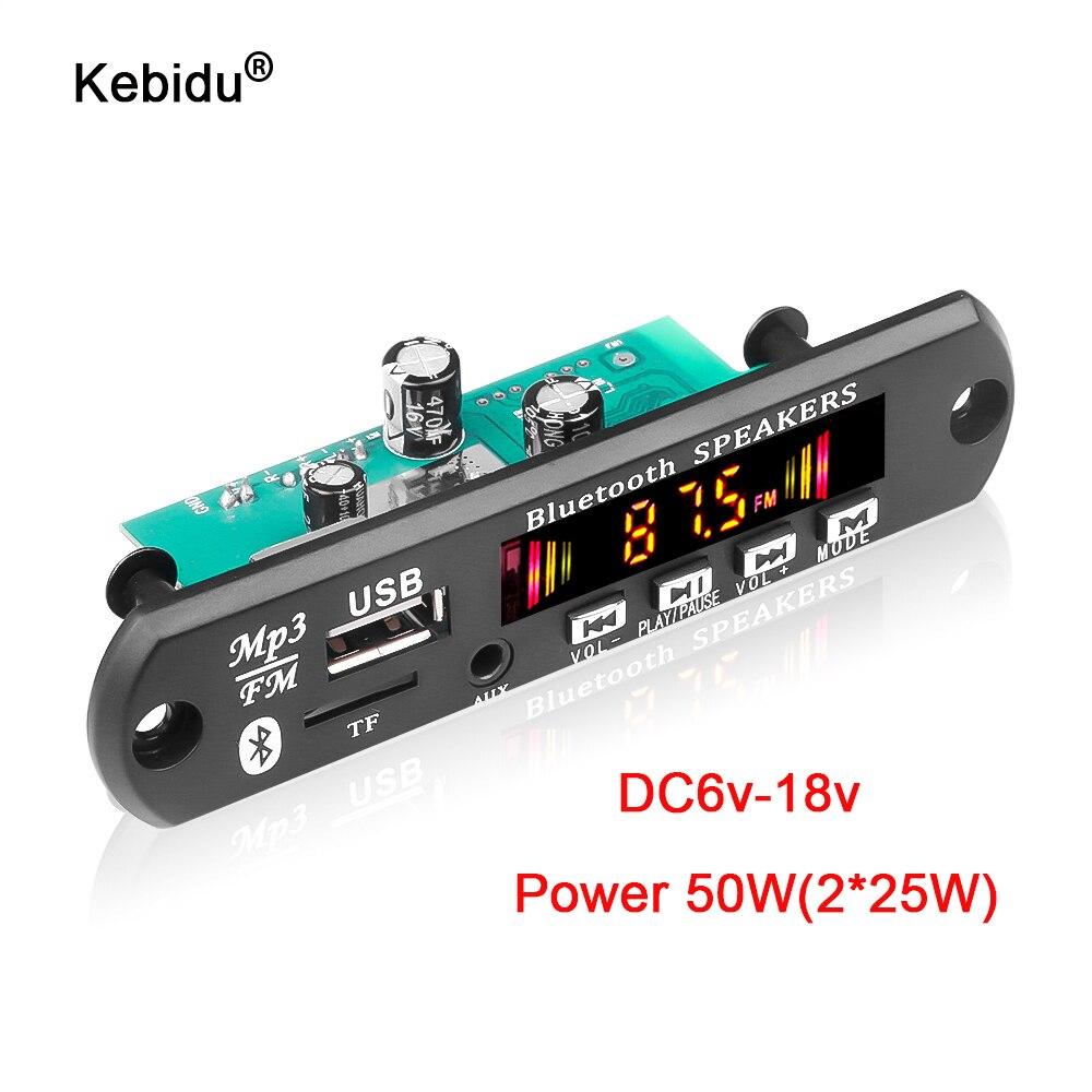 Kebidu 50 Вт усилитель MP3 декодер плата 5 в 18 в Bluetooth 5,0 USB TF FM радио модуль для динамика с громкой связью Запись голоса