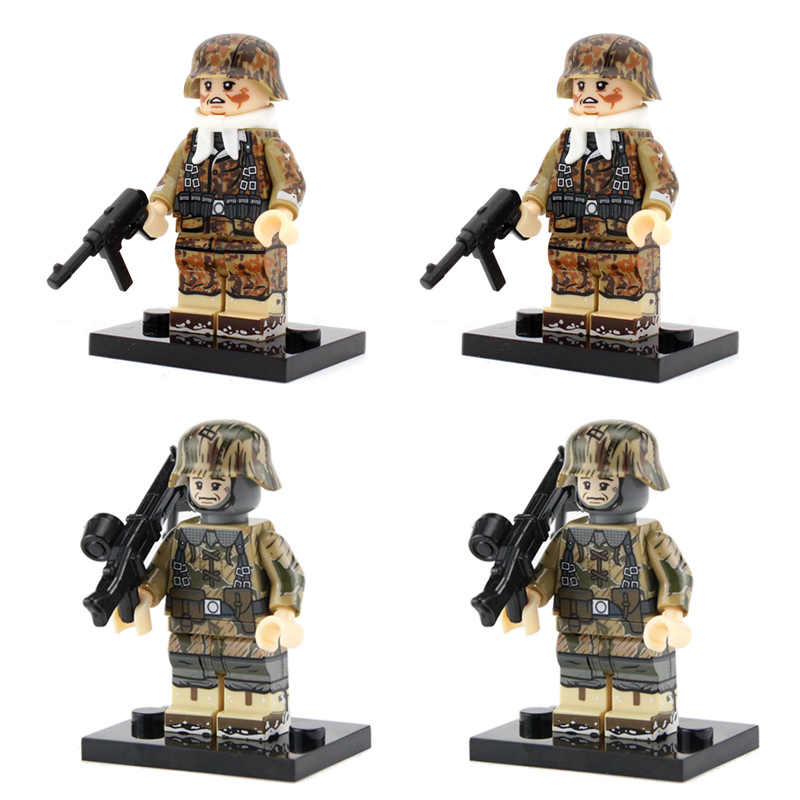 NEW WW2 Military Army Soldier Figures Building Blocks German Herman Goering Paratrooper Armored Force Soldier Weapon Bricks Toys