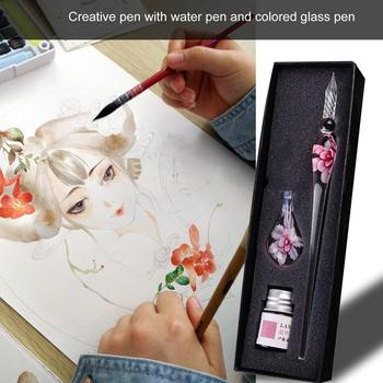 Glass Dip Crystal Pen Signature Ink Inside Flower for Writing Art Decoration Transparent Fountain Gold Pastel