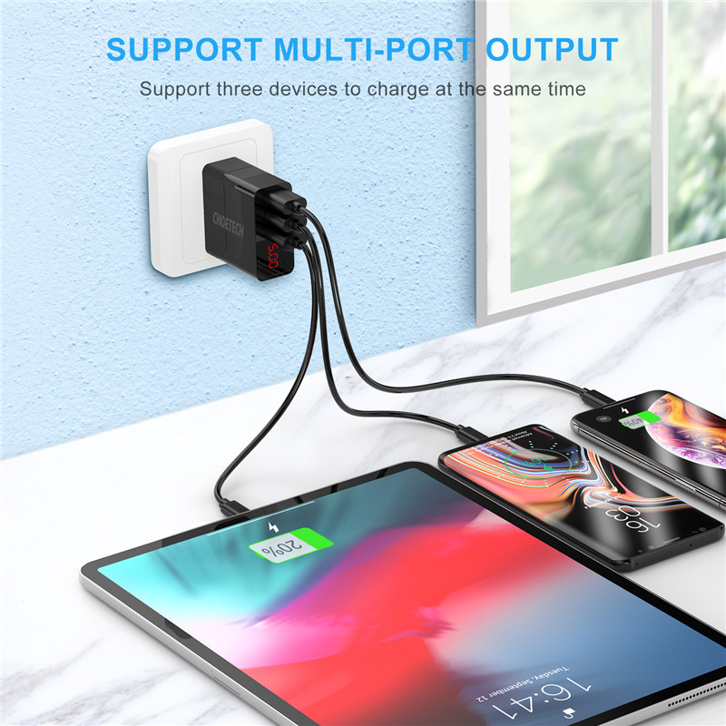 Image 5 - CHOETECH 3 Port LED Display USB Charger Universal 3A Mobile Phone USB Charger Fast Charging Wall Charger For iPhone 7 Xiaomi LG-in Mobile Phone Chargers from Cellphones & Telecommunications