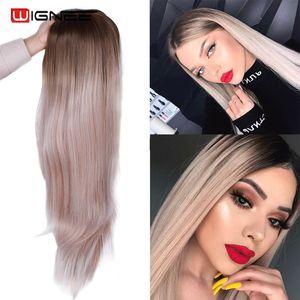 Image 1 - Wignee ארוך ישר שיער התיכון חלק סינטטי פאה עבור נשים Ombre תינוק אפר בלונדינית/ורוד/אדום/חום/כחול טבעי שיער נשי פאה