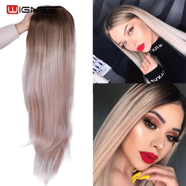Wignee ארוך ישר שיער התיכון חלק סינטטי פאה עבור נשים Ombre תינוק אפר בלונדינית/ורוד/אדום/חום/כחול טבעי שיער נשי פאה