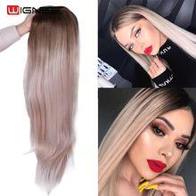 Длинный прямой парик Wignee, средняя часть, синтетические волосы для женщин, Ombre, светлый/розовый/красный/коричневый/синий натуральный парик для женщин