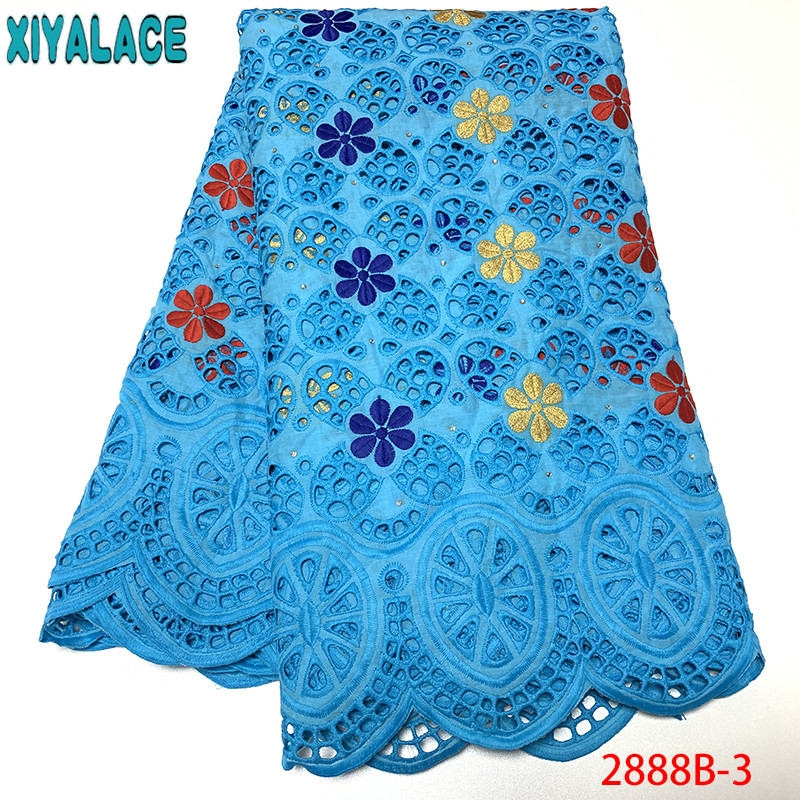 Sky Blue Cotton Lace Fabrics,Nigeria Laces 2019 Hollow Out Lace,High Quality African Lace Dresses Ks2888B-3