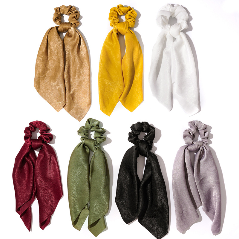 Solid Color Women Satin Scrunchies Elastic Hair Bands Bow Hair Scarf Girls Rope Ties Rubber Bands Simple Sweet Hair Accessories
