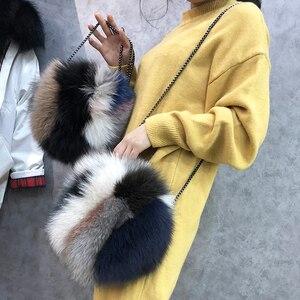 Image 5 - 高級デザイナーの女性のクラッチバッグと財布本物の毛皮の女性のハンドバッグ因果ラウンドメッセンジャーショルダーイブニングバッグ女性ギフト