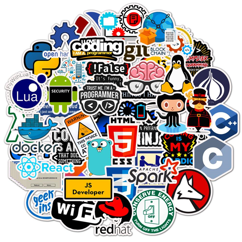 50Pcs Internet Java Sticker Geek Programmer Php Docker Html Bitcoin Cloud C++ Programming Language For Car Laptop DIY Stickers