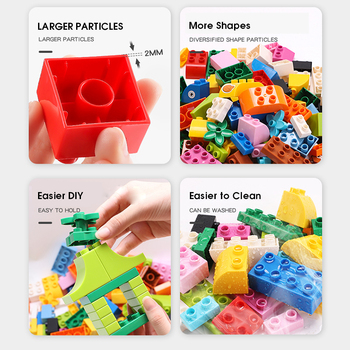 60~360Pcs Big Size Brick Colorful Bulk Bricks Base plates DIY Building Blocks Compatible Duploe Block Toys For Children 3
