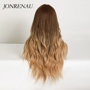 Image 3 - JONRENAU Long Synthetic Natural Wave Brown to Golden Blonde Ombre  Hair Wig Daily Wear Wigs for White /Black women