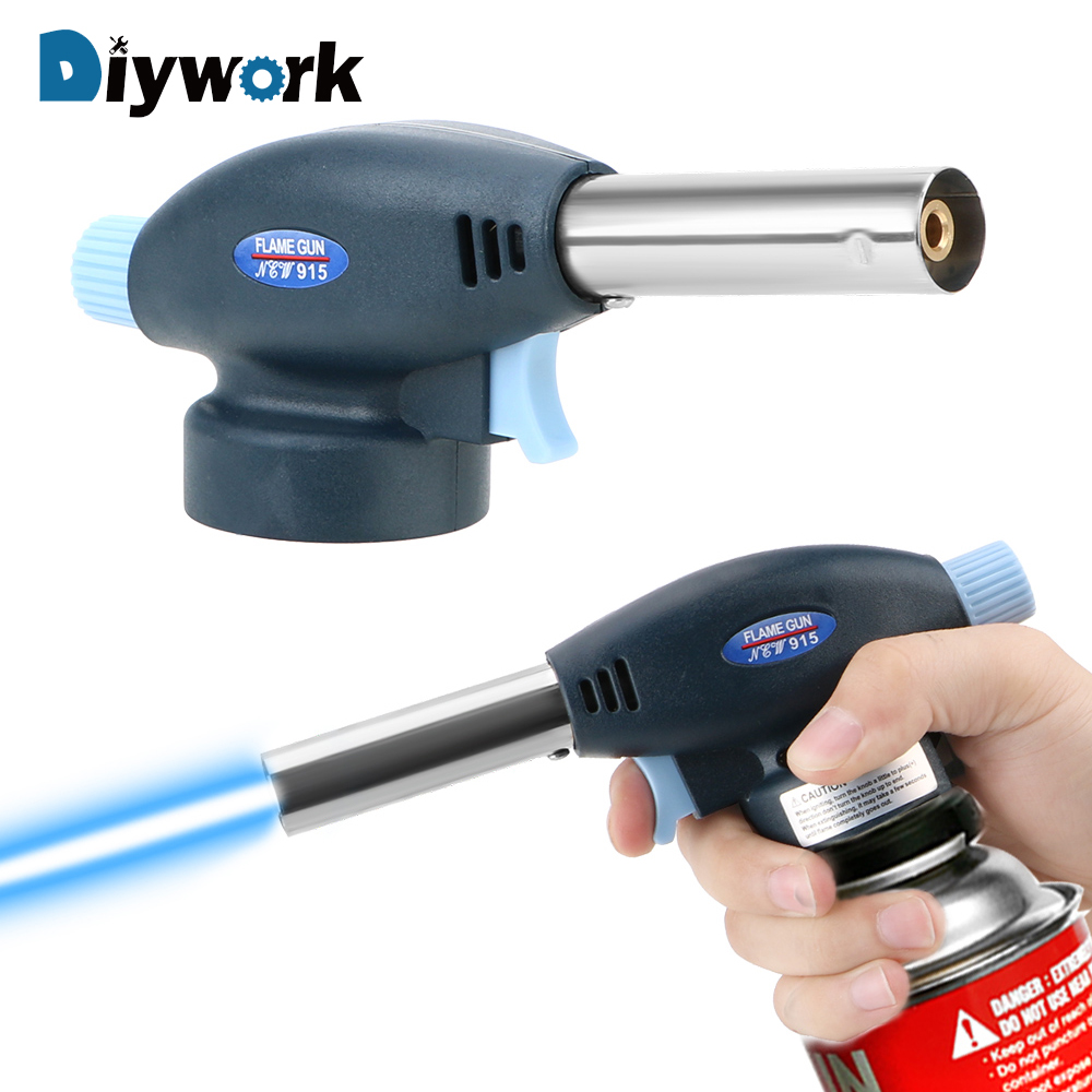 DIYWORK Portable Butane Gas Welding Torch 915 Metal Gun Torch Ignition Lighter For Welding Cooking Survival Outdoors