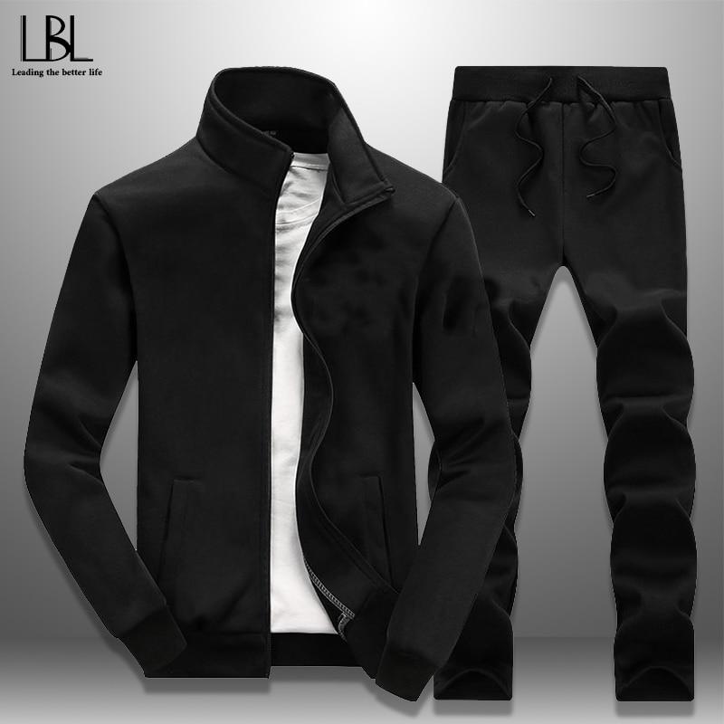 Casual 2 Piece Tracksuit 2019 Spring Autumn New Men's Sportswear Eur Size Jogger Pants + Sports Coat Men Set Fitness Clothing