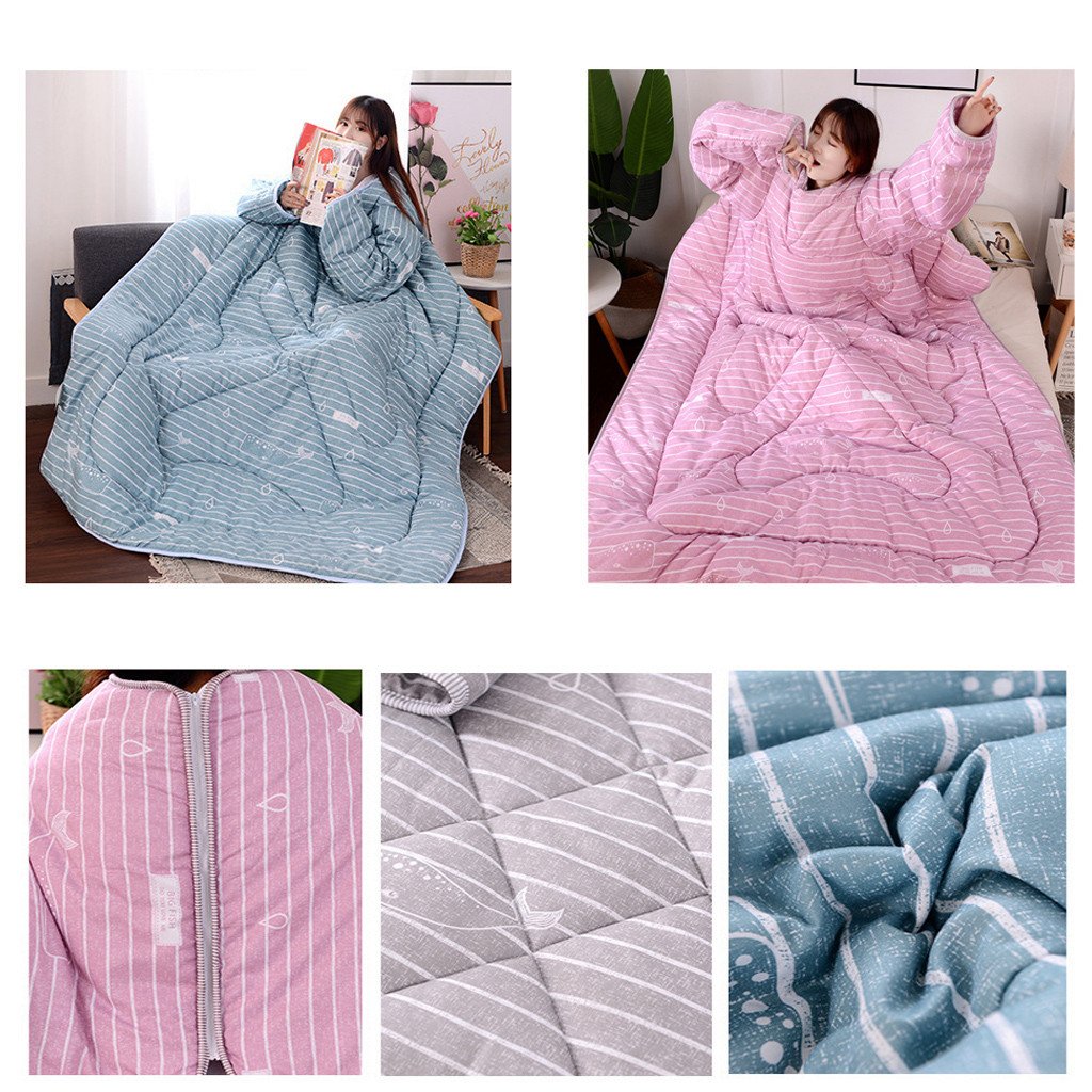 Winter Lazy Quilt With Sleeves Quilt Multifunctional Warm Thickened Quilt Family Blanket Cape Cloak