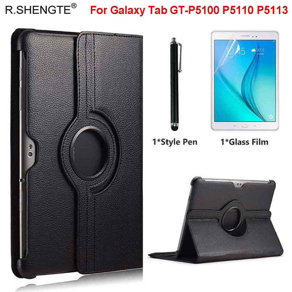 <font><b>Tablet</b></font> Case For <font><b>Samsung</b></font> Galaxy Tab 2 <font><b>10.1</b></font> GT-P5100 P5110 GT-P5113 Case 360 Rotating Folio Stand Pu Leather <font><b>Cover</b></font> With Pen+Film image