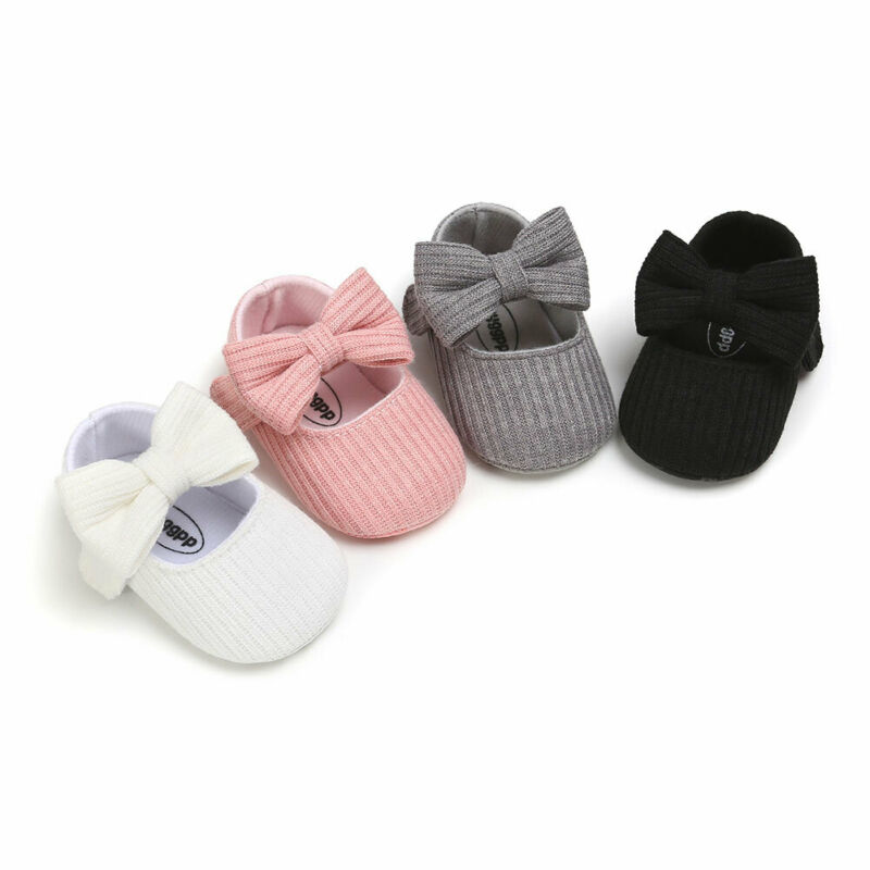 Cute Baby Girls Shoes Lovely Bow Knitted Newborn I