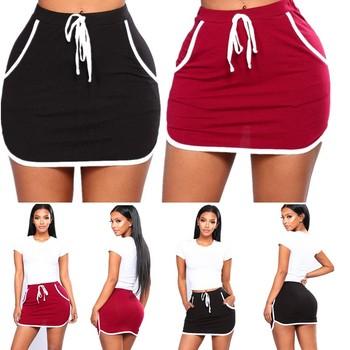 Letnie kobiety biegaczy Fitness spódnica kieszenie seksowna spódnica plaża białe boki spodnie dresowe wysoka talia krótkie spódnice odzież damska tanie i dobre opinie Poliester CN (pochodzenie) Osób w wieku 18-35 lat Ołówek Lace-up Short skirt empire Stałe Na co dzień Powyżej kolana Mini