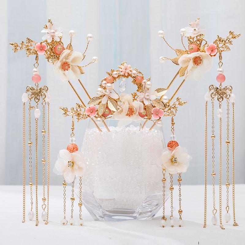 FORSEVEN Women Girls Hanfu Dress Jewelry Sets Tassel Step Shake Flower Chinese Hairpins Hair Combs Earring Hair Fork Headpieces