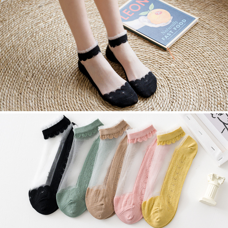 5 paires femmes chaussettes été nouvelle femme mince dentelle coton Patchwork cheville chaussettes colorées mignonnes filles chaussettes