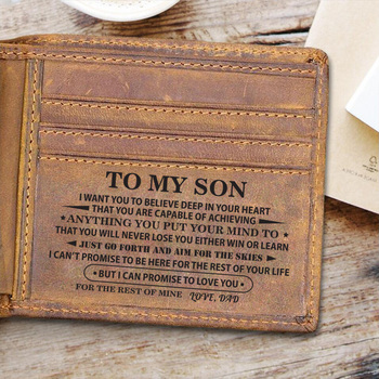 TO MY SON Personalized Gifts Wallet Genuine Leather for Men Him, Engraved Gifts for Men on Birthday, Birthday Christmas Gifts
