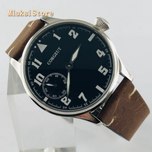 44mm CORGEUT mens luxe top horloge silver case lederen band 17 Juwelen mechanische 6497 hand kronkelende beweging lichtgevende horloges