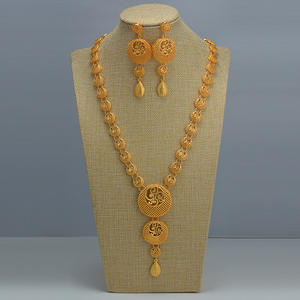 Earrings Jewelry-Sets Chokers Wedding-Chain Gifts Indian Gold-Color Dubai/arab Women