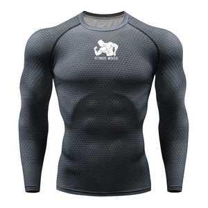 Image 1 - טי כושר ריצת חולצת גברים דחיסת גרביונים כושר MMA ארוך שרוול פיתוח גוף חולצה כושר גברים ריצה חולצת טי