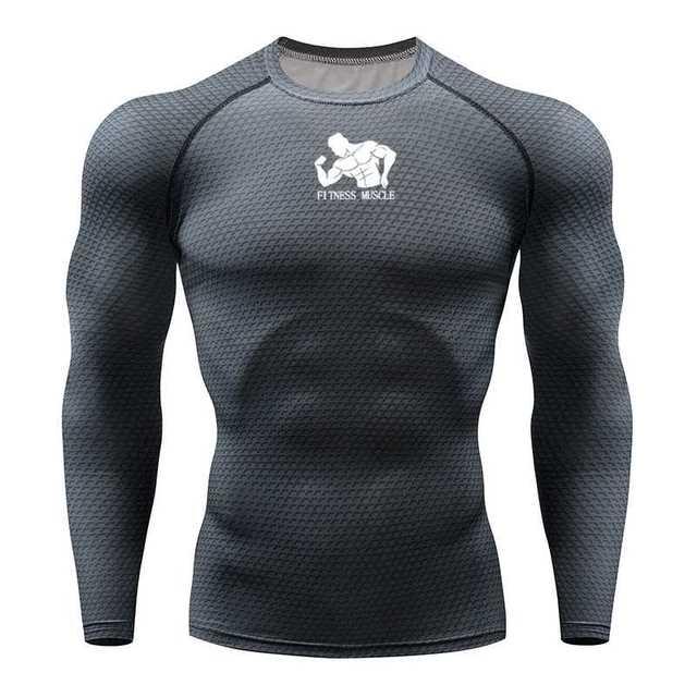 טי כושר ריצת חולצת גברים דחיסת גרביונים כושר MMA ארוך שרוול פיתוח גוף חולצה כושר גברים ריצה חולצת טי