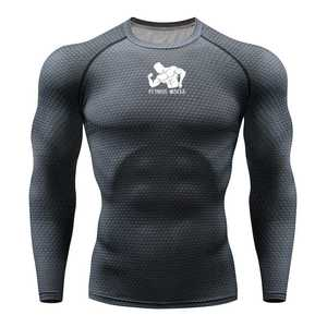 Image 1 - Tシャツランニングシャツ男性圧縮タイツフィットネス格闘技長袖ボディービルtシャツジム男性tシャツの実行