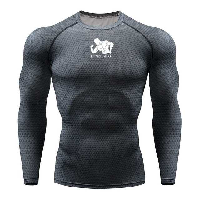 Tシャツランニングシャツ男性圧縮タイツフィットネス格闘技長袖ボディービルtシャツジム男性tシャツの実行