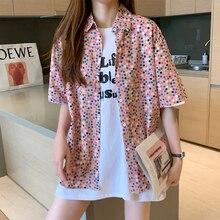 2020 Летом Принт В Горошек Отпечатано Свободные Большой Размер Розовый Зеленый Негабаритных Рубашка Женщины Блузка Мода Уличная Одежда Тройник Рубашка Роковой