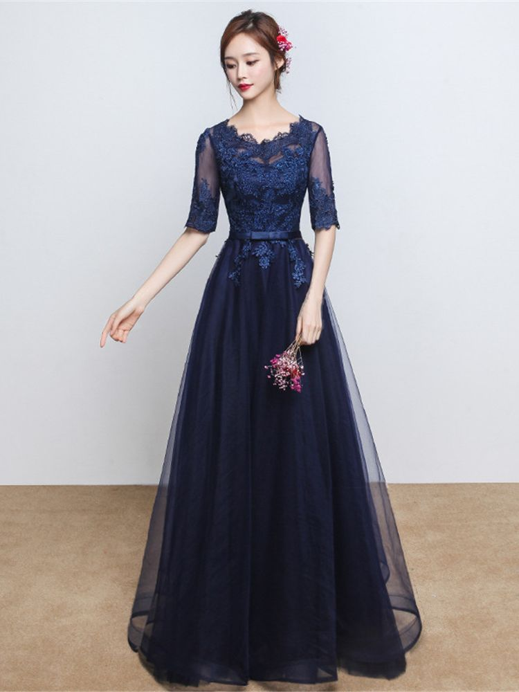 Long Elegant A-line Grey Lace Evening Dresses 2019 Half Sleeve Appliques Wedding Party Occasion Prom Dresses Size S-3XL