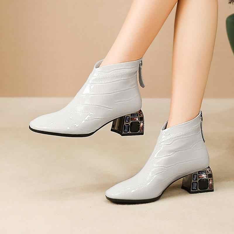 ALLBITEFO hakiki deri kristal topuk moda bayan botları kış kar yarım çizmeler kadınlar için yüksek topuk çizmeler kadın topuklu