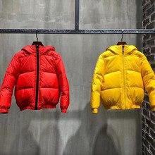 Новинка года; детские пуховики на заказ; зимние пальто с капюшоном красного и желтого цвета для мальчиков и девочек; детское зимнее пальто