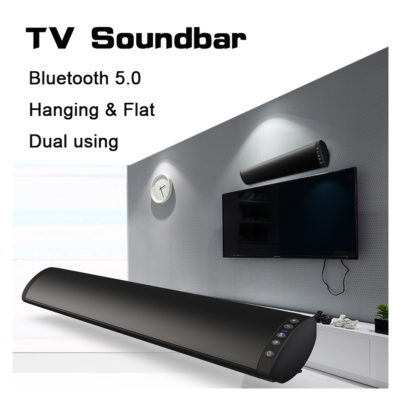 Bluetooth 5.0 FM Soundbar Wireless Speaker 20W Home Theater Column Surround Sound System Stereo Wall-Mounted Speaker
