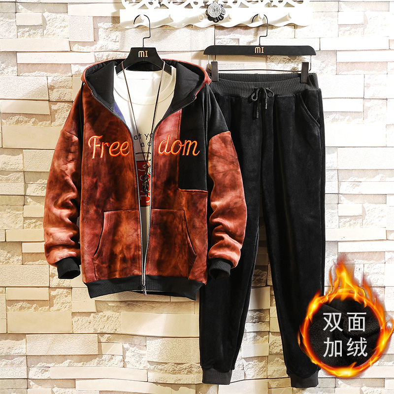 Winter Men's Sets Thick Fleece Hoodies+pants Suit Zipper Cardigan Hooded Sweatshirt Sportswear Mens Tracksuit Casual Sports