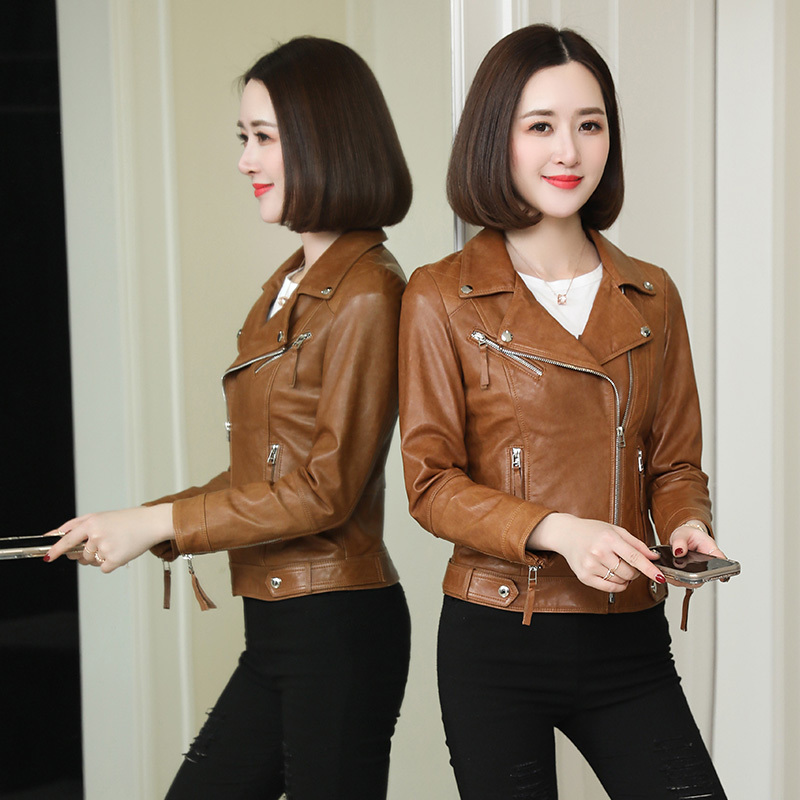 100% Genuine Leather Jacket Women Clothes 2019 Korean Montone Biker Real Sheepskin Coat Female Short Jacket Hiver SD3365