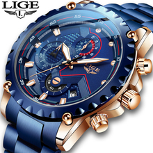 LIGE 2020 Classic blue Design Watches Men Luxury Quartz Wristwatch with Stainless Steel Chronograph Watch Male Clock Relojes Hot
