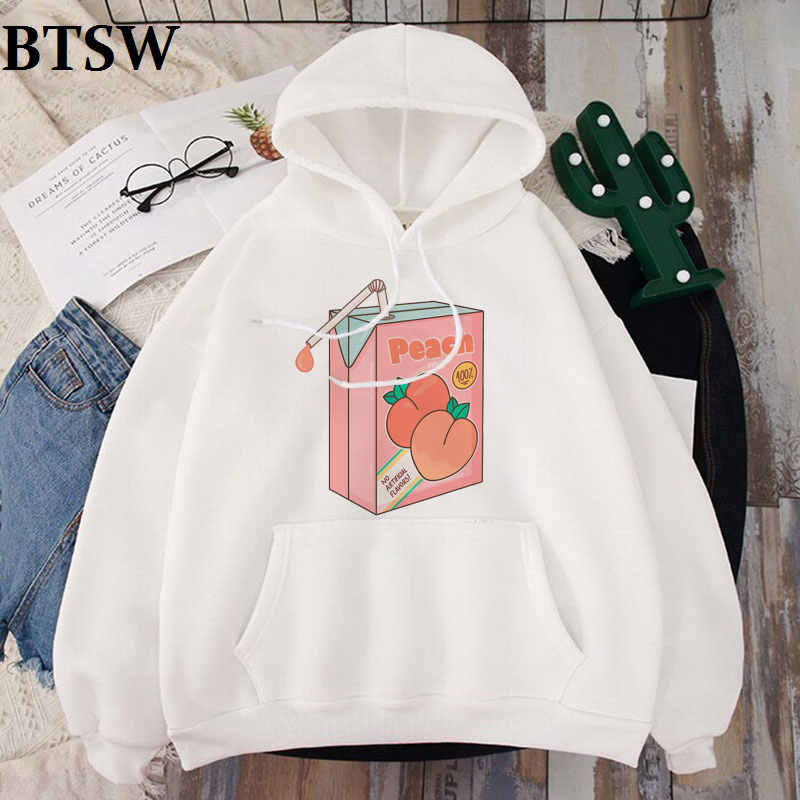 Girl 90s Kawaii White Hoodies Peach Juice Japanses Aesthetic Grunge Hoodie Women Autumn Casual Tumblr Outfit Fashion Tops Hoody