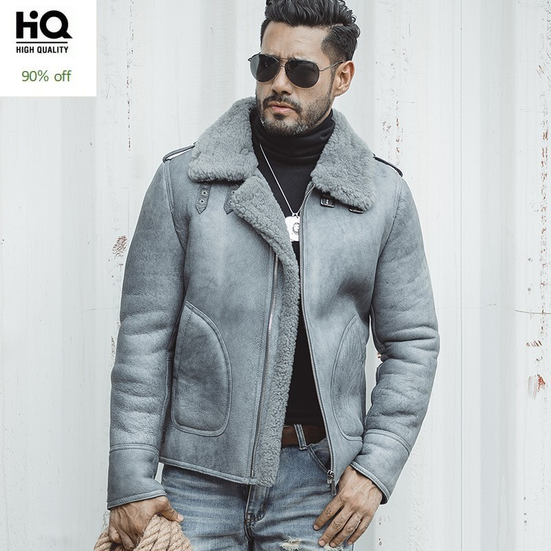 Luxury Mens 100% Natural Shearling Overcoat Genuine Leather Jacket Thick Warm Sheepskin Real Fur Lining Coat Slim Fit Jackets