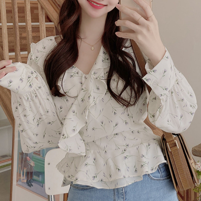 Blusas 2021 Spring Elegant Tops Blouse Women Long Sleeve Floral Chiffon Shirt Women Puff Sleeve Chic Office Lady Clothing 10249 2