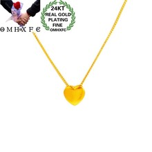 OMHXFC Jewelry Wholesale EX182 European Fashion Hot Fine Woman Girl Party Birthday Wedding Love Heart 24KT Gold Pendant Necklace(China)
